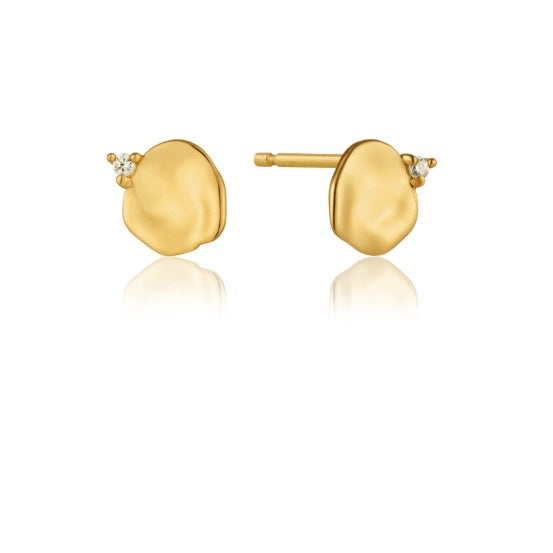 Ania Haie Gold and CZ crush disc stud earrings