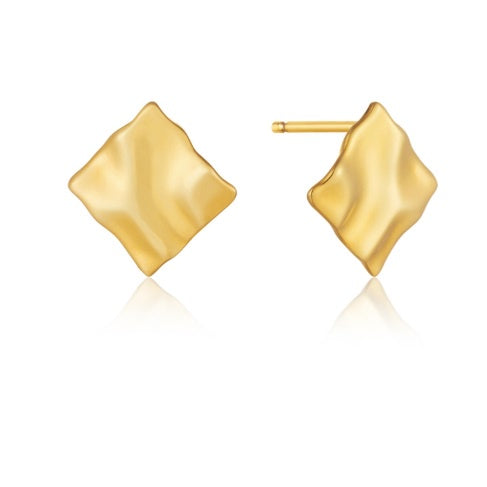 Ania Haie Gold crush mini square stud earrings