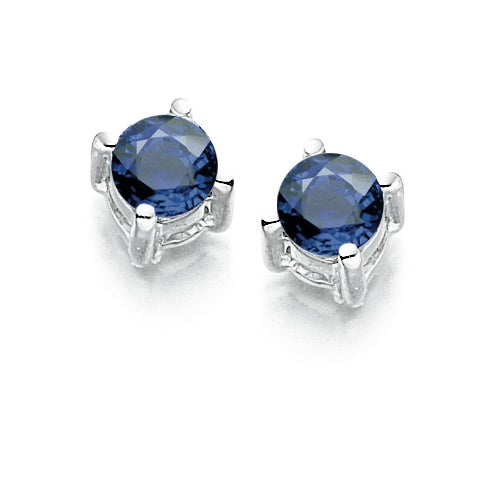 Amore 9ct white gold Sapphire claw set stud earrings