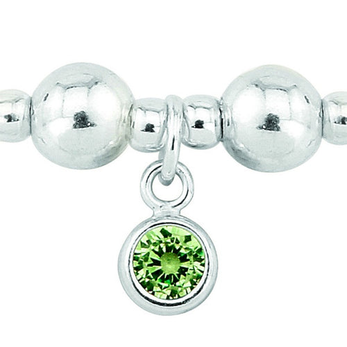 Silver and Peridot CZ August birthstone bracelet