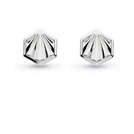 Kit Heath Silver empire deco hexagonal stud earrings