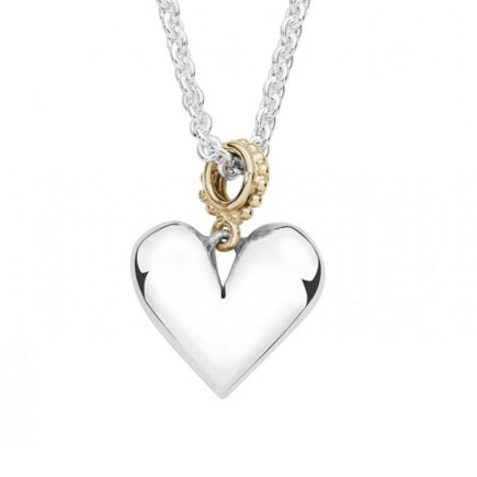 Linda Macdonald Silver and 9ct gold forever heart pendant
