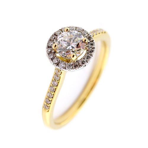 Ring 18ct yellow gold 0.54ct diamond halo ring