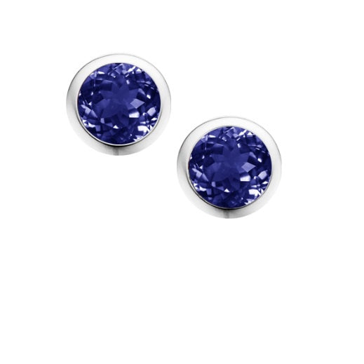 Amore Silver and Iolite 4mm round stud earrings
