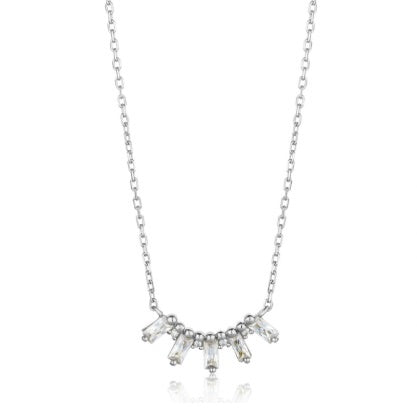 Silver CZ glow solid bar necklace