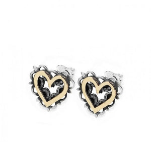 Linda Macdonald Silver and 9ct yellow gold vintage romance lace stud earrings