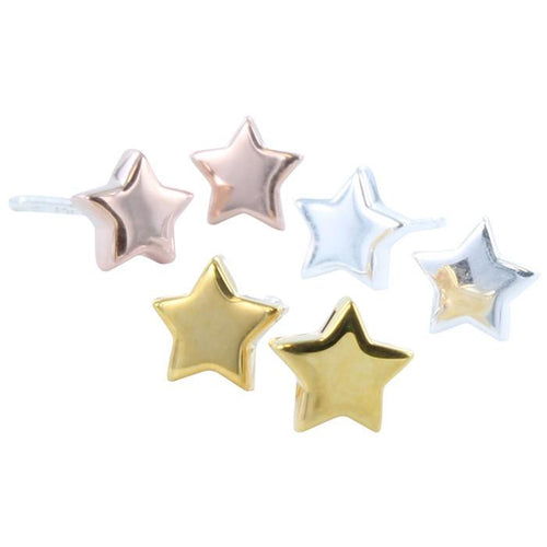 High Shine Star Stud Earrings in Silver, Rose Gold, or Yellow Gold