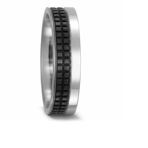 Titanium band with a cubed carbon design