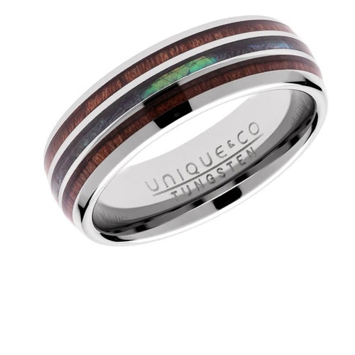 Tungsten carbide ring with wood and shell inlay