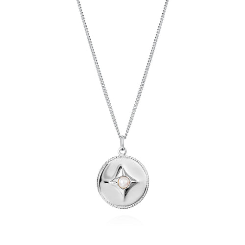 Claudia Bradby Silver pearl Northern star compass pendant
