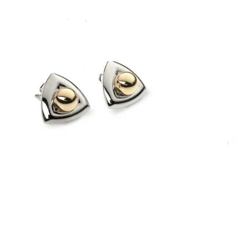 Church House Silver and 9ct gold bead triangular stud earrings