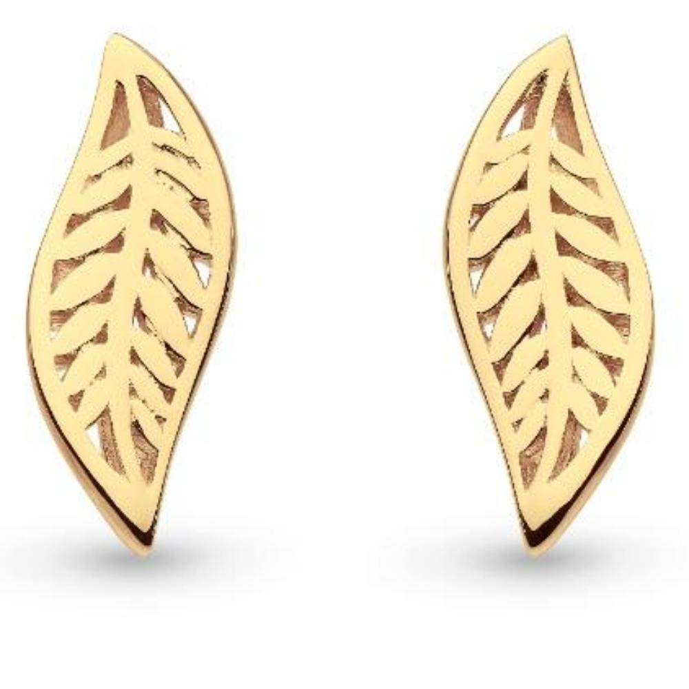 Kit Heath gold plated blossom eden small leaf stud earrings