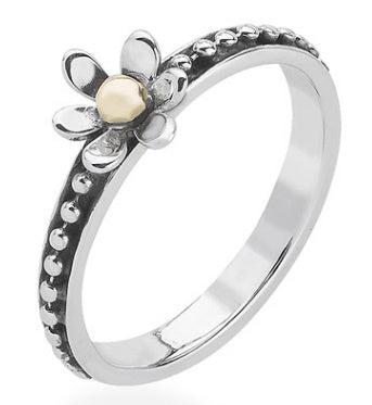 Linda Macdonald Silver gold lucky penny flower ring