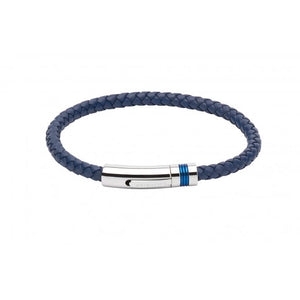 Blue leather plaited bracelet with steel and blue clasp