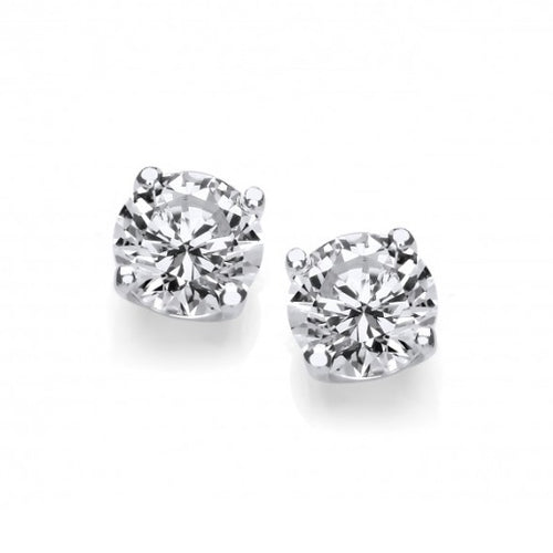 Silver Cubic zirconia round claw 4mm stud earrings