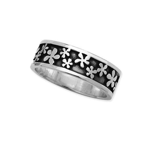 Linda Macdonald Silver oxidised flowers ring
