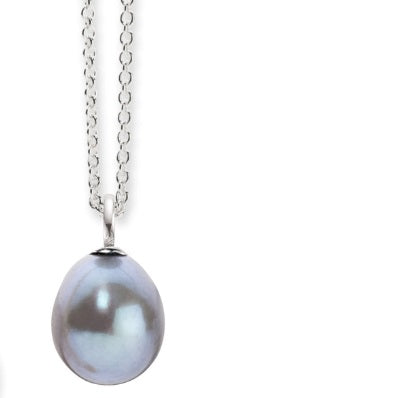 Silver and grey freshwater 7mm pearl pendant