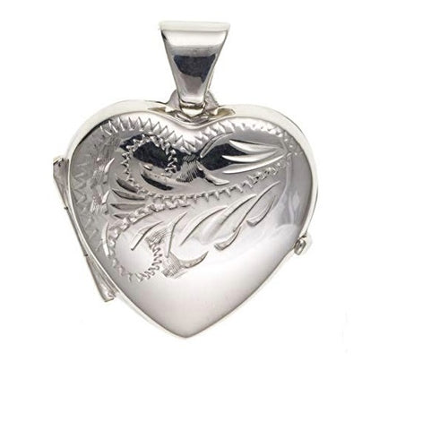 Silver engraved medium heart locket