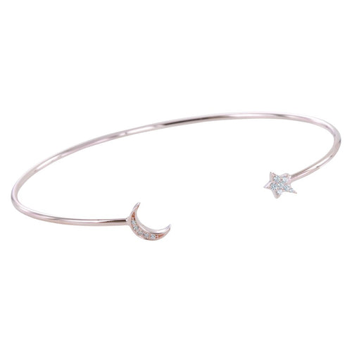 Rose gold cubic zirconia moon and star bangle