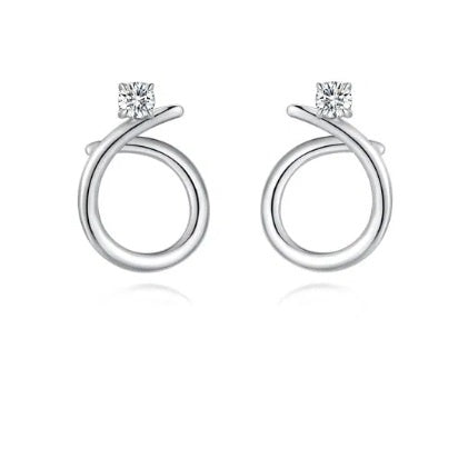Fei Liu Silver and CZ radiance plain swirl stud earrings
