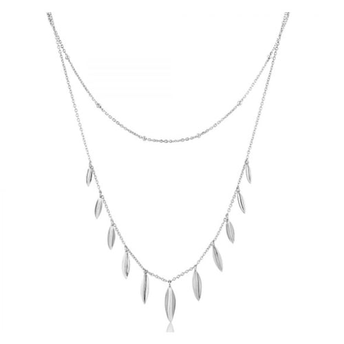 Ania Haie Silver leaf double necklace