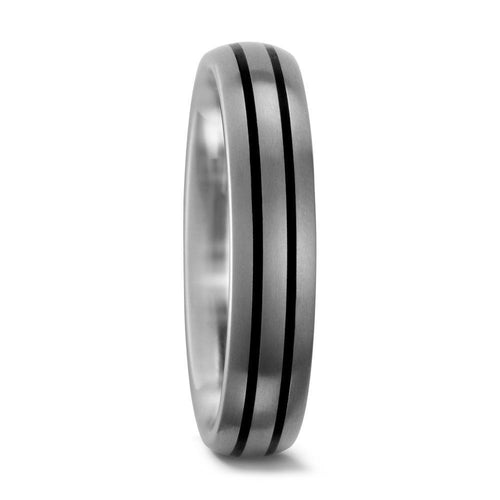 Titanium 6mm double black grooved ring