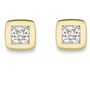 9ct yellow gold CZ square 6mm stud earrings