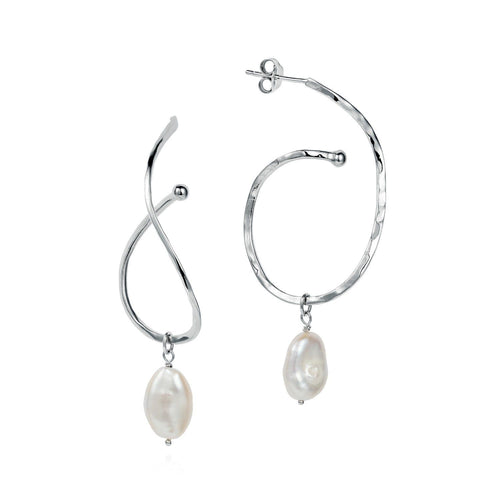 Claudia Bradby Silver baroque pearl caligraphy ripple hoop earrings