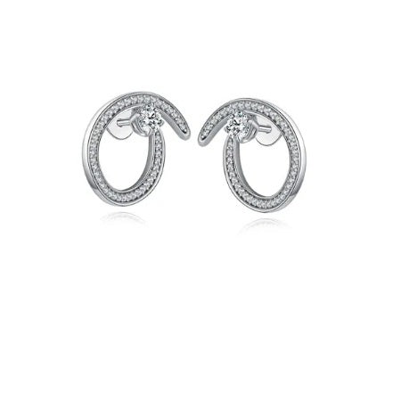 Fei Liu Silver and CZ radiance swirl stud earrings