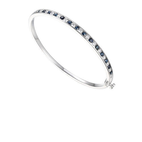 Amore Silver CZ and Sapphire channel set bangle