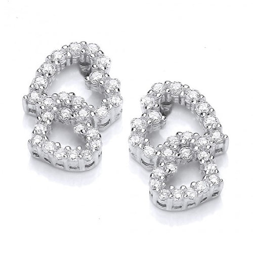 Silver cubic zirconia double heart stud earrings