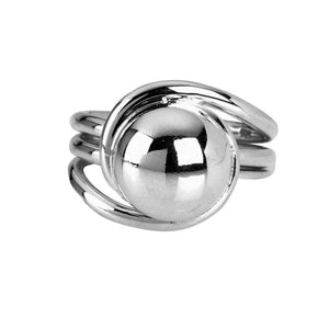 Silver large bead wrapped ring