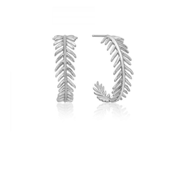 Ania Haie Silver palm hoop earrings