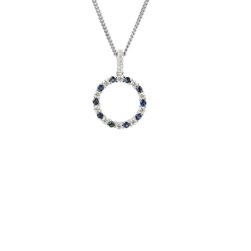 Amore Silver blue sapphire and cubic zirconia hoop pendant
