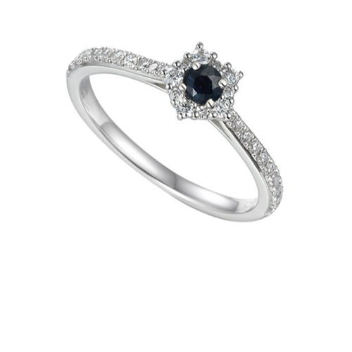 Amore Silver Sapphire cluster classico ring