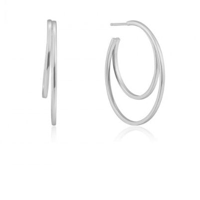 Ania Haie Silver crescent hoop earrings