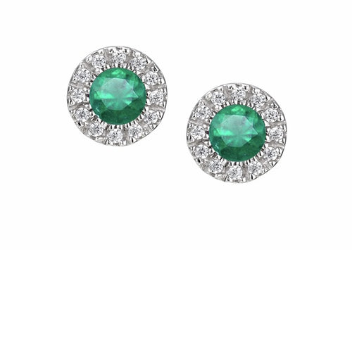Amore 9ct yellow gold Emerald and Diamond cluster stud earrings