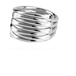 Silver tight strands ring
