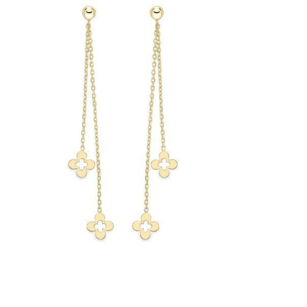 Earrings 9ct yellow gold flower chain drop earrings