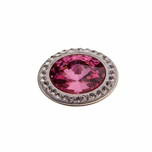 Qudo Steel Rose swarovski CZ 16mm deluxe tondo ring top