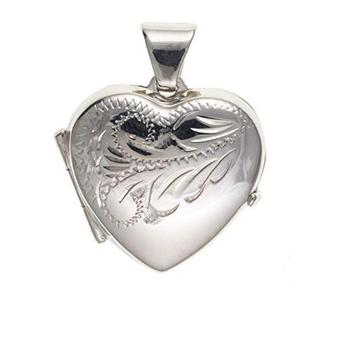 Silver heart locket with a lovely floral pattern