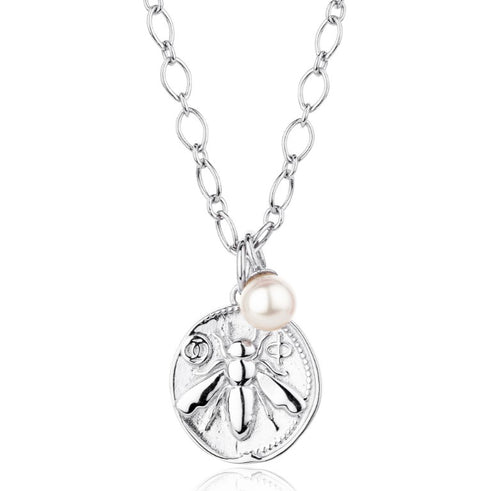 MEDIUM COIN HONEY BEE CHARM NECKLACE,