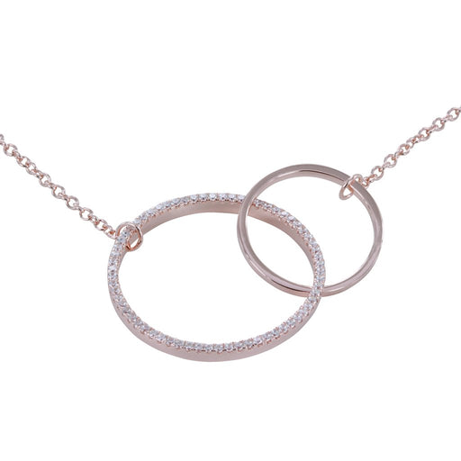 Rose gold cubic zirconia twin hoops necklace