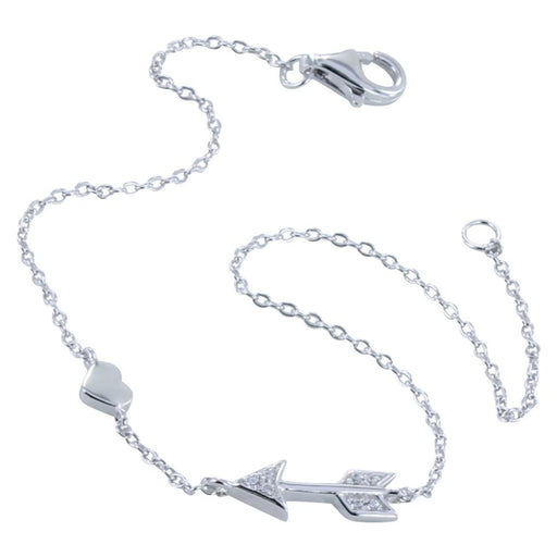Silver cubic zirconia arrow and heart bracelet