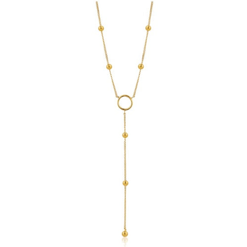 Ania Haie Gold modern circle Y necklace