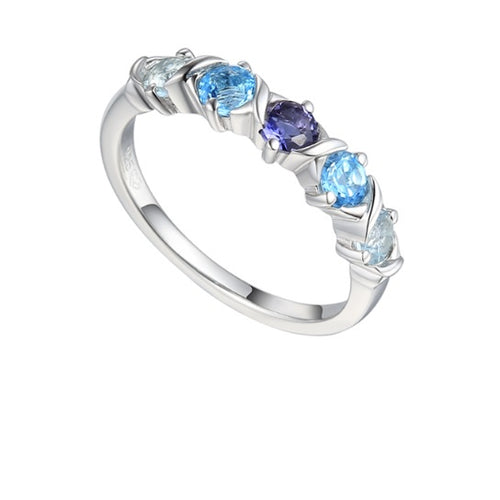 Amore Silver Blue Topaz and Iolite half eternity ring