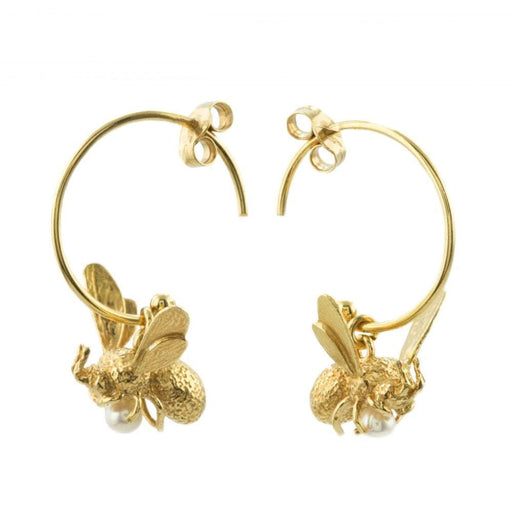 Alex Monroe Earrings Alex Monroe gold pearl flying bee hoop earrings