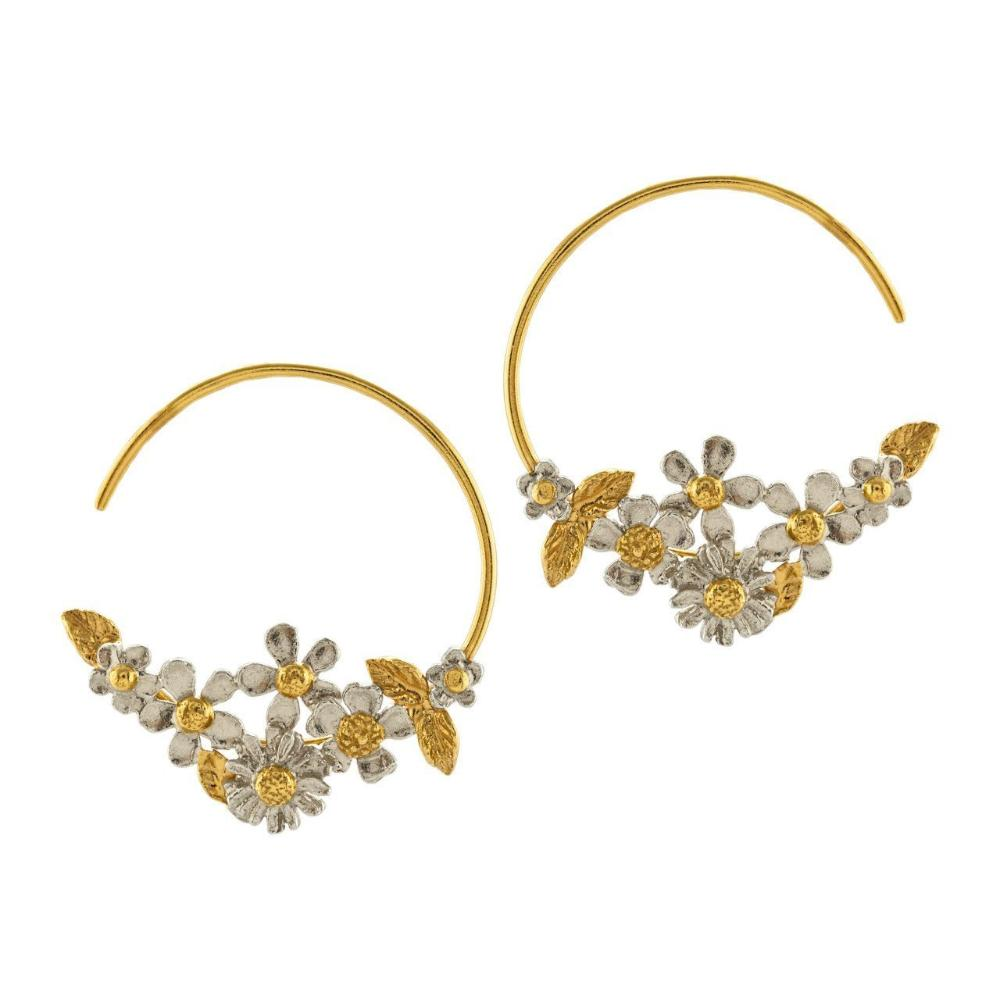 Alex Monroe Earrings Alex Monroe gold plated and silver posy fine hoop earrings