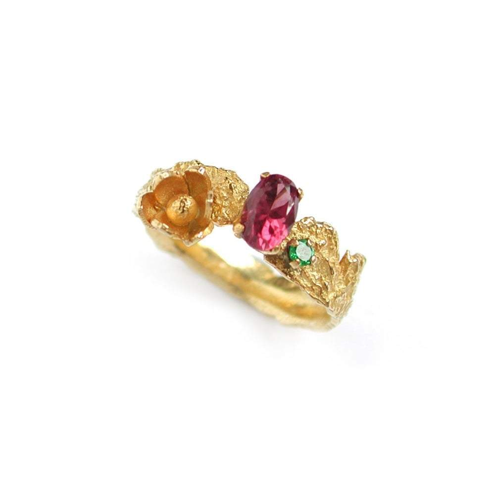 Alex Monroe Ring Alex Monroe gold rhodolite and tsavorite flower ring
