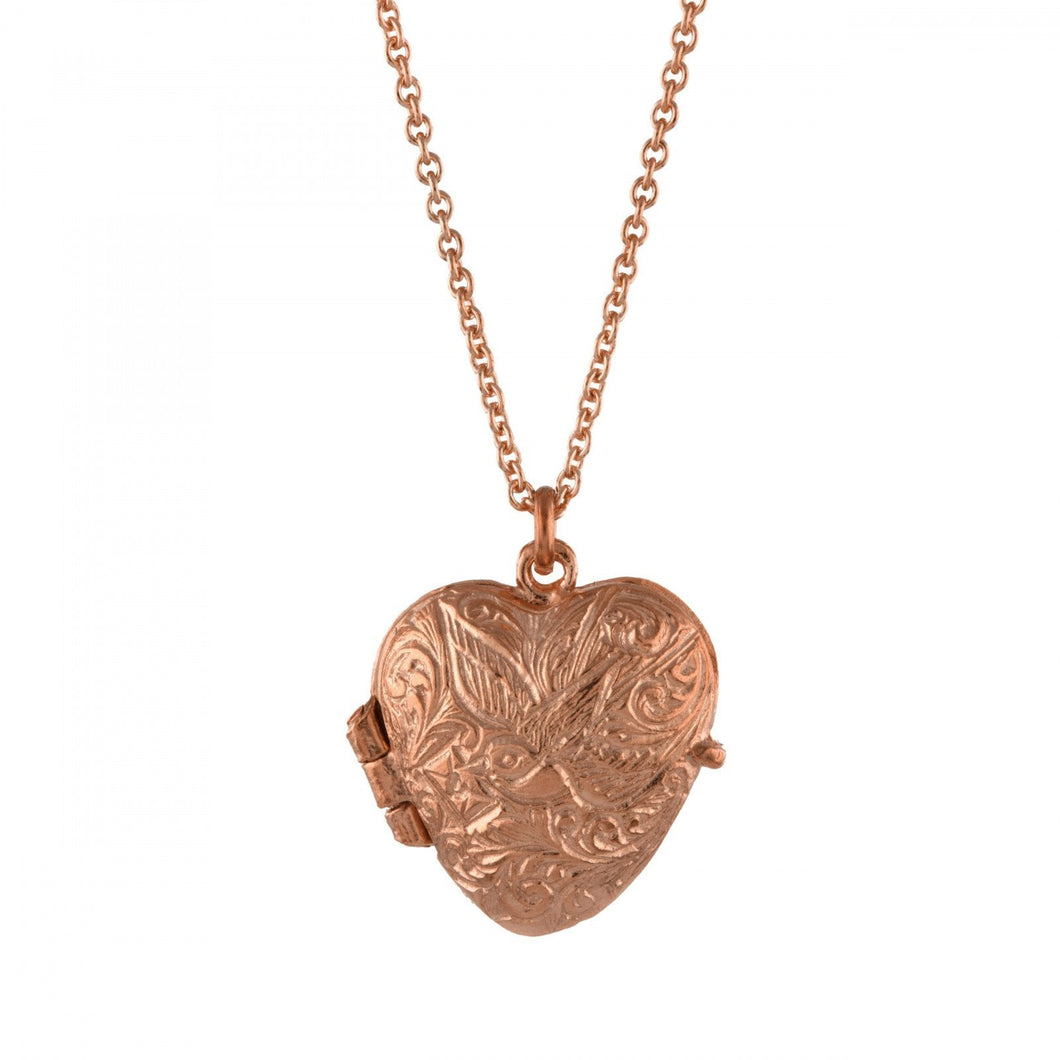 Alex Monroe Locket Alex Monroe rose gold plated silver engraved swallow heart locket